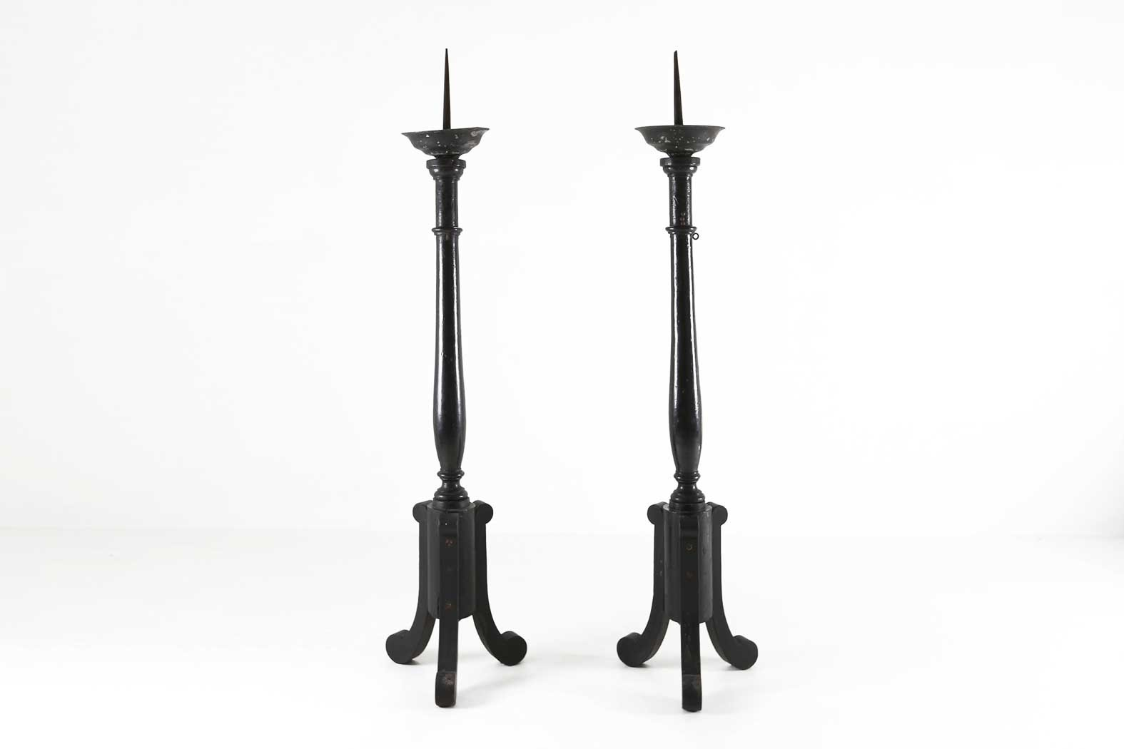 Big wooden church candle holders Ca.1900thumbnail