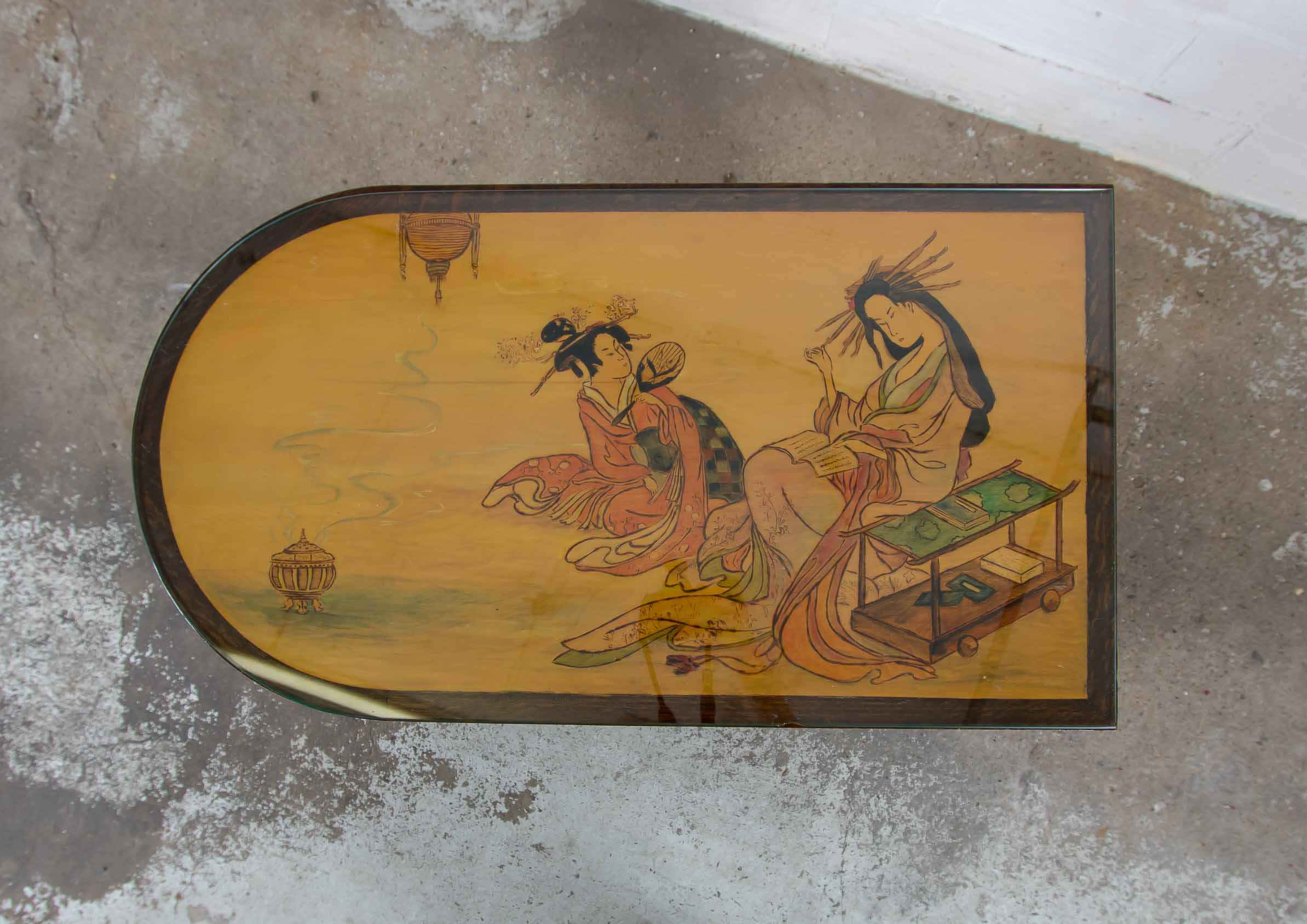 Coffee table with chinese scene thumbnail